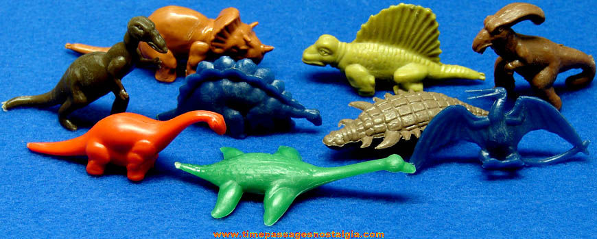 (9) Different 1957 Nabisco Cereal Prize Dinosaur Play Set Figures