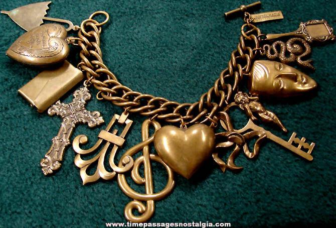 Old Br Metal Jan Michaels Designer Charm Bracelet