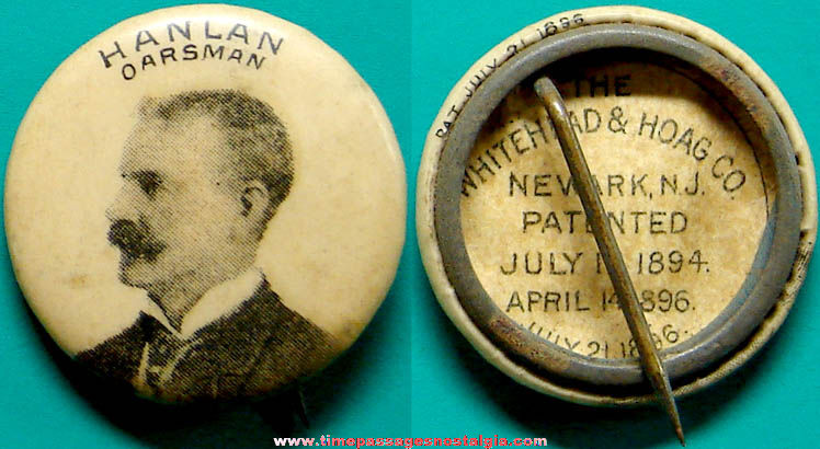 1896 Ned Hanlan Advertising Premium Celluloid Pin Back Button