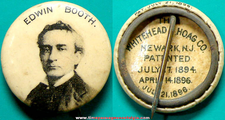 1896 Actor Edwin Booth Advertising Premium Celluloid Pin Back Button