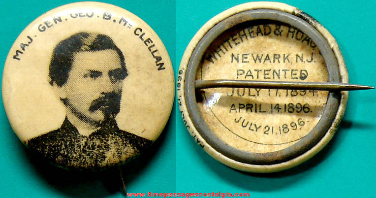 1896 Major General George McClellan Advertising Premium Celluloid Pin Back Button