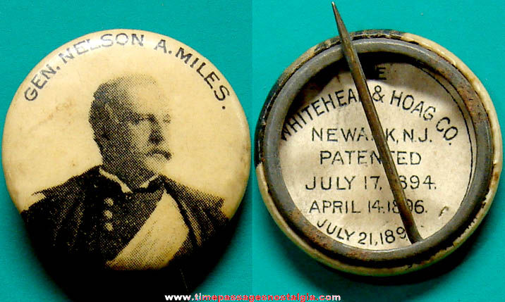 1896 General Nelson Miles Advertising Premium Celluloid Pin Back Button