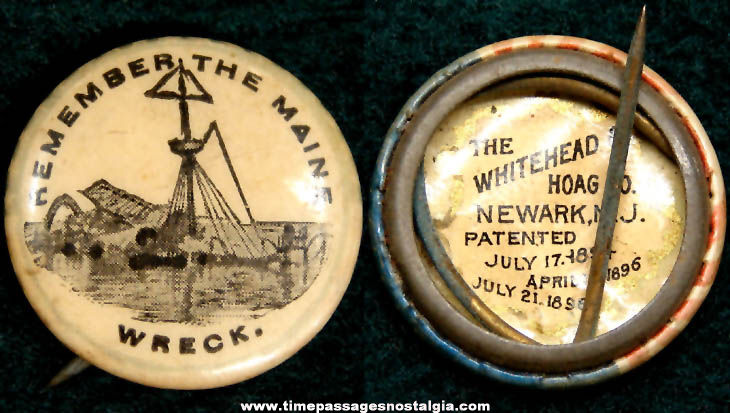 1890s Remember The Maine U.S.S. Maine Battleship Celluloid Pin Back Button