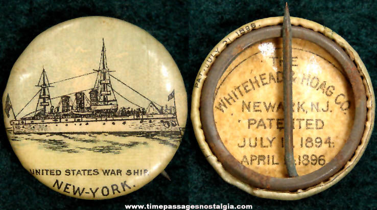 1896 U.S.S. New York Battleship Celluloid Pin Back Button