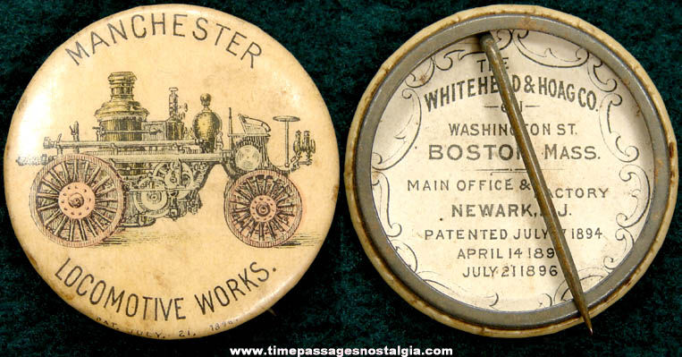 1896 Manchester Locomotive Works Steam Fire Engine Advertising Celluloid Pin Back Button