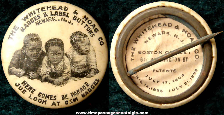1896 Whitehead & Hoag Company Celluloid Advertising Premium Pin Back Button With Children