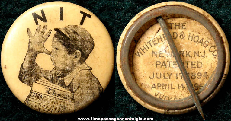 1896 Whitehead & Hoag Company Celluloid Newspaper Boy Pin Back Button