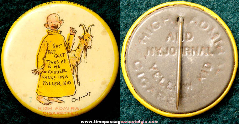 1896 Yellow Kid Newspaper & Cigarette Advertising Premium Celluloid Pin Back Button