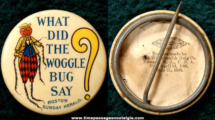 1905 Woggle Bug Character Newspaper Advertising Celluloid Pin Back Button