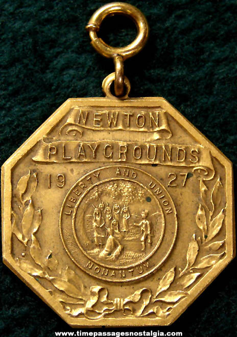 1927 Newton Massachusetts Playgrounds Commemorative Medal Fob