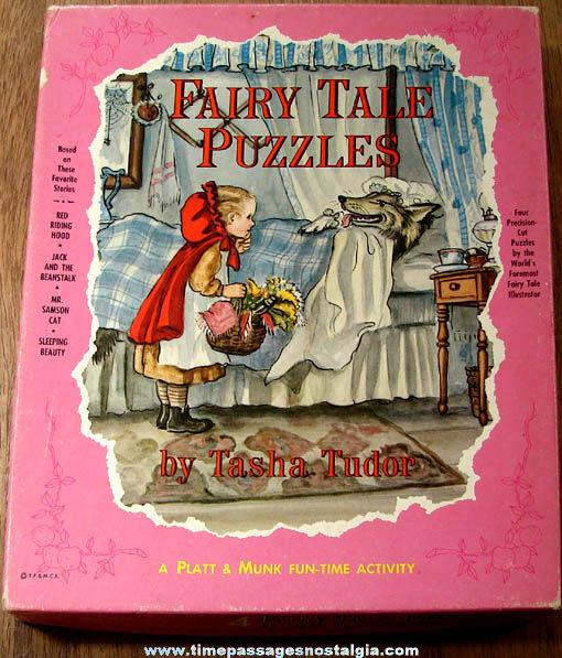 (4) Boxed ©1963 Tasha Tudor Fairy Tale Character Jigsaw Puzzles