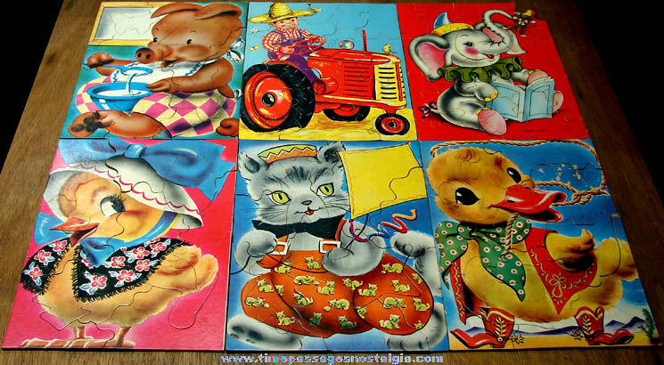 (6) Colorful Boxed ©1949 Saalfield Pre School Jigsaw Puzzles