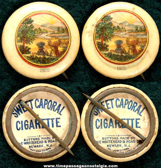 (2) 1896 Sweet Caporal Cigarette Premium Ohio State Celluloid Pin Back Buttons