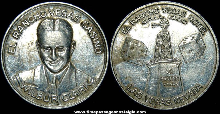1940s El Rancho Vegas Casino Hotel Advertising Metal Token Coin