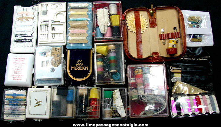 (17) Different Old Emergency Sewing or Mending Kits