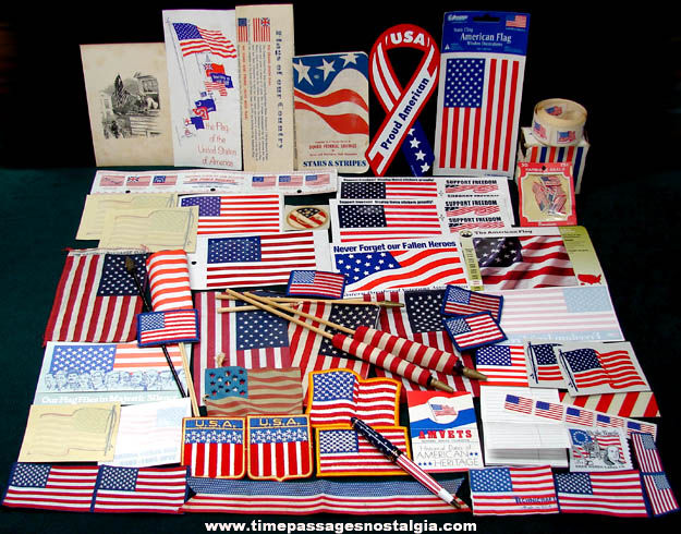 (150) Small American Flags & Flag Related Items