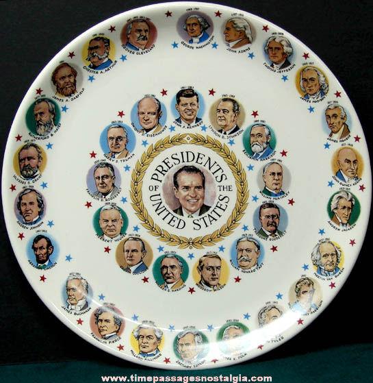 Old Porcelain or Ceramic United States President Plate