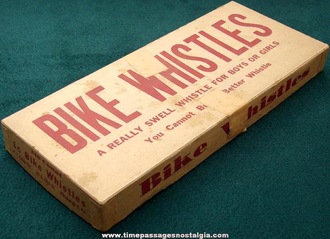 Old Bike Whistles Store Advertising Box & Tin Whistle