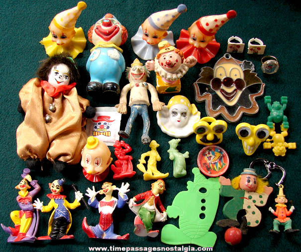 (30) Small Colorful Circus Clown Related Items