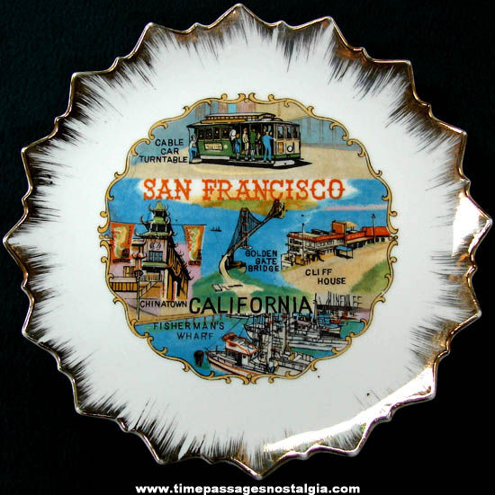Colorful Old San Francisco California Advertising Souvenir Plate
