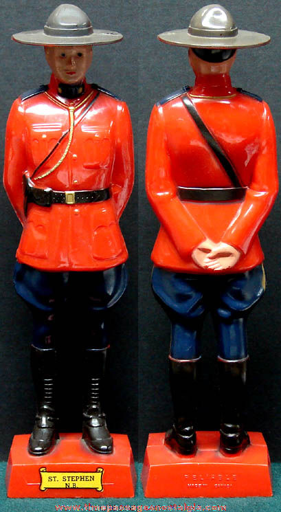 Colorful Old Hard Plastic Royal Canadian Mounted Policeman Souvenir Figurine