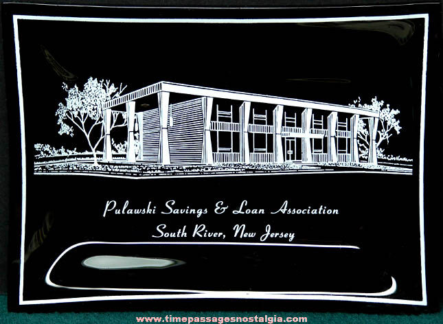 Old South River New Jersey Polish Bank Advertising Black Glass Tray