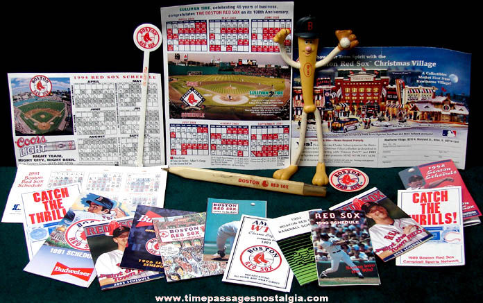 (21) Old Boston Red Sox Advertising Baseball Items