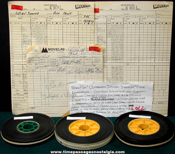 (3) 1977 Cleveland Indians Baseball 16mm Film Reels With Paperwork