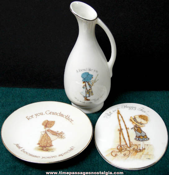(3) 1970s Holly Hobbie Character Porcelain Items