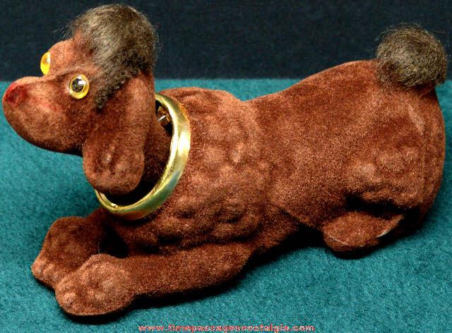 Old Flocked Plastic Poodle Dog Toy Nodder Figure