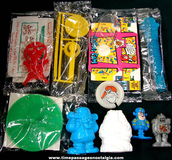 (10) Different Old Cap'n Crunch Cereal Box Prize Toys