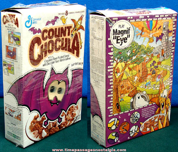 ©1992 Count Chocula Advertising Cereal Box With Cut Out Bat