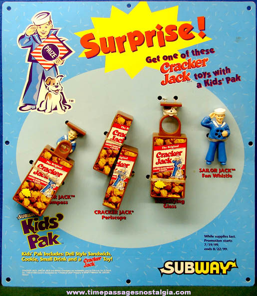 ©1999 Subway Restaurant Cracker Jack Advertising Premium Toy Display Sign