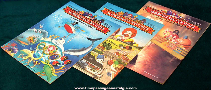 (27) Different 1982 - 2001 McDonald's Restaurant Advertising Fun Times Magazines