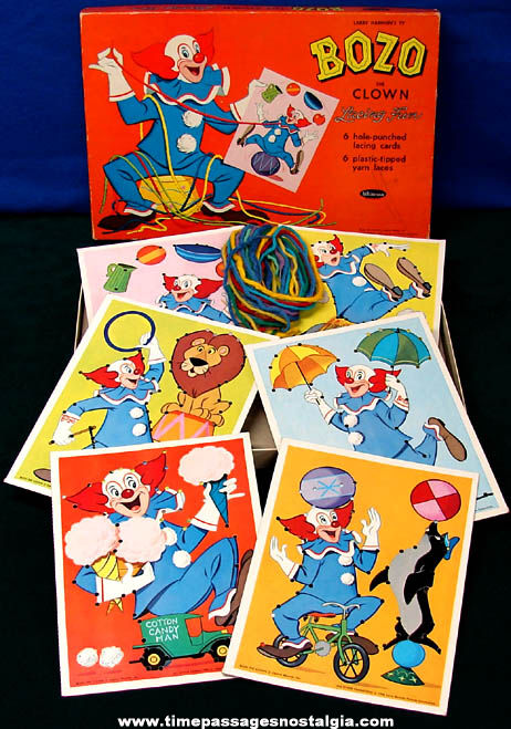 Colorful Boxed ©1966 Bozo The Clown Whitman Lacing Fun Kit