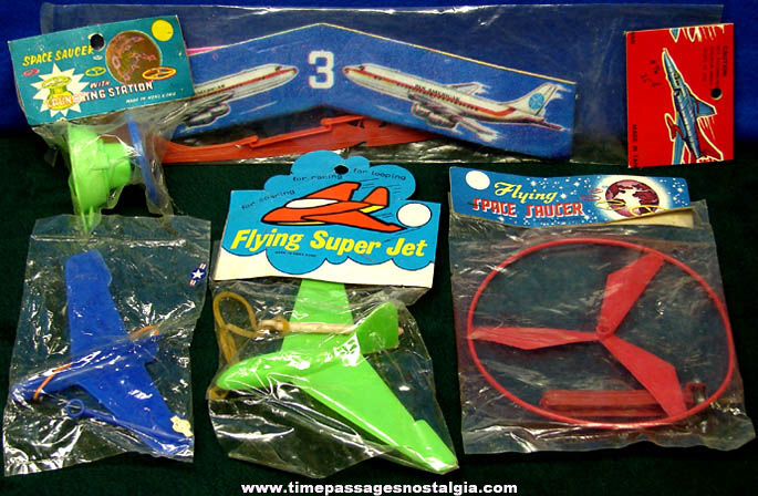 (5) Old Unopened Airplane & Space Related Flying Toys