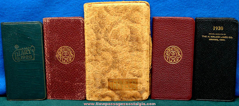 (5) Small 1920s & 1930s Diary and Travel Log Books
