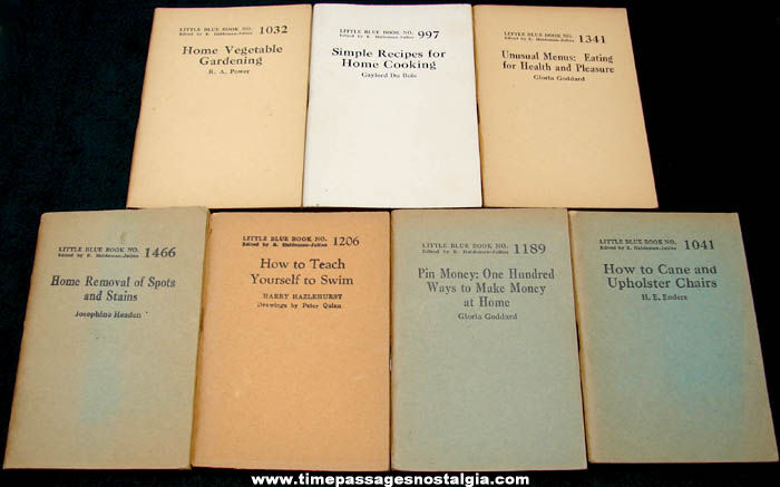 (7) Different Old Little Blue Book Information Booklets
