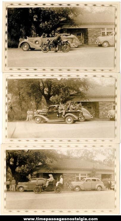 (3) Old Antique Automobile & Motorcycle Photographs