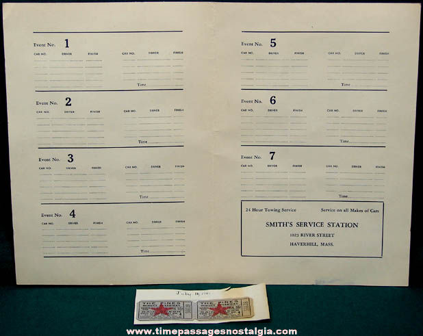 1941 Pines Speedway Groveland Massachusetts Auto Racing Program & Tickets