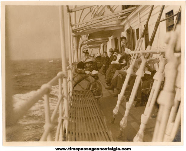 (4) 1908 Photographs of Passengers Onboard Steamships