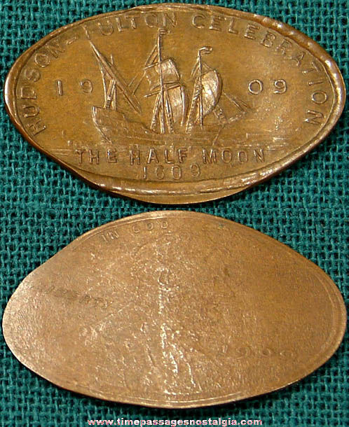 1909 Hudson Fulton Celebration Advertising Souvenir Elongated Cent