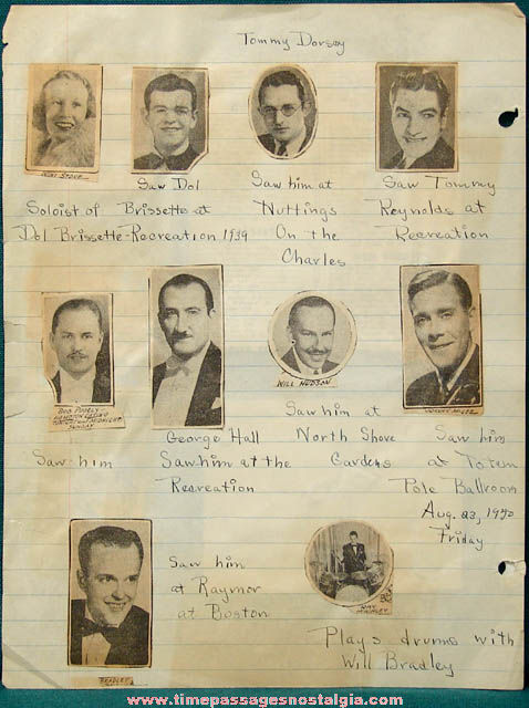 1939 - 1941 Big Band Music Scrap Book Pages With Autographs