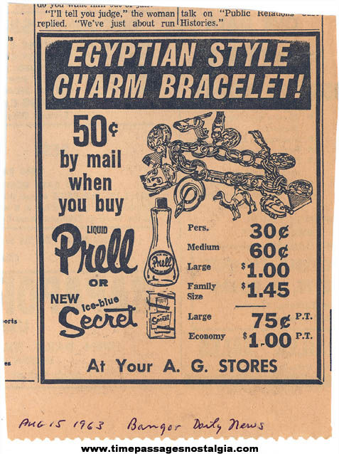 1963 Advertising Premium Egyptian Charm Bracelet Advertisement