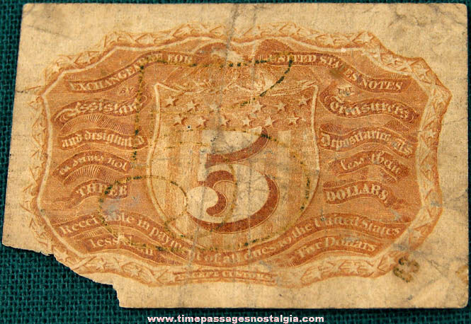1863 United States Five Cent Fractional Currency Note