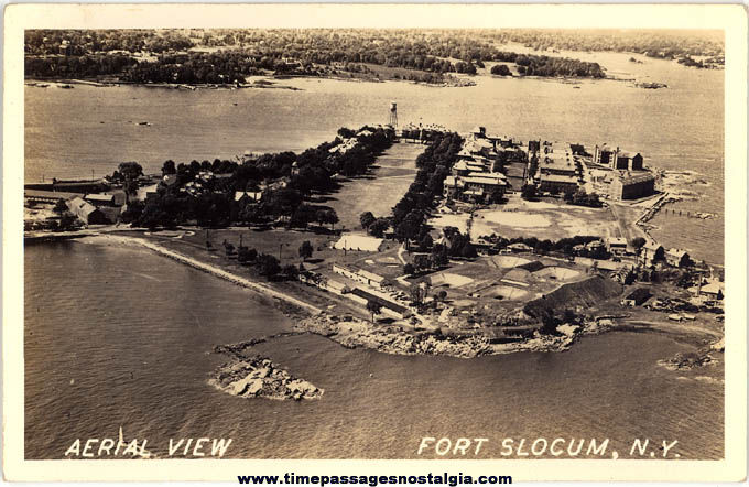 Old Unused Fort Slocum New York Aerial View Real Photo Post Card