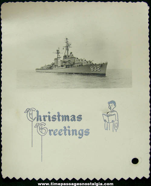 Old U.S.S. Hanson DD-832 Christmas Holiday Greeting Photograph Card