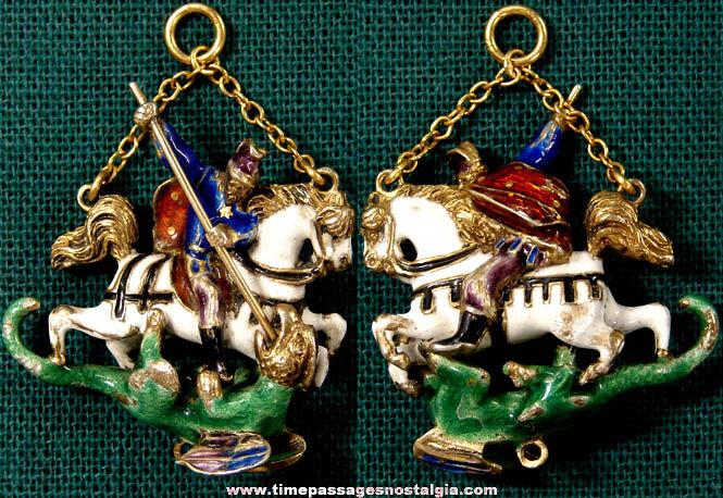 Elaborate Old Enameled Metal St. George Dragon Slaying Charm