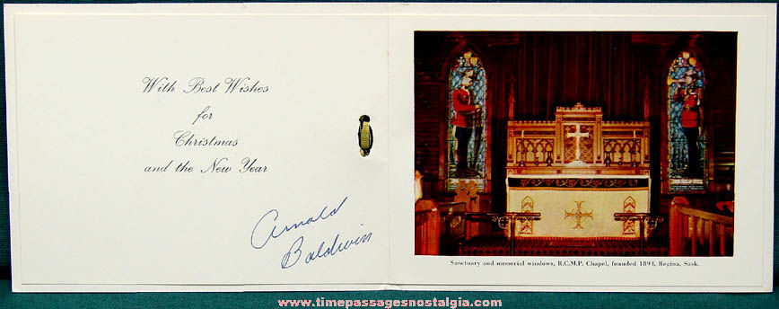 1960 Royal Canadian Mounted Police Christmas & New Years Card With Envelope