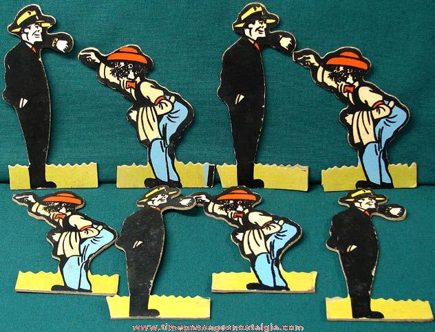 (8) 1947 Dick Tracy & B. O. Plenty Comic Strip Character Figures